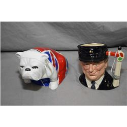 """Royal Doulton bulldog figure """"Jack"""" from Skyfall DD007 and small limited edition character jug The E"""