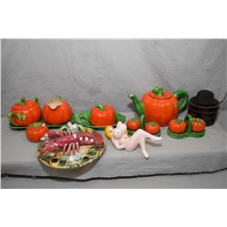 Selection of vintage Tomatoware including teapot, lidded sugar and cream on drip tray, covered butte