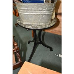 Vintage cast iron tri footed pub table