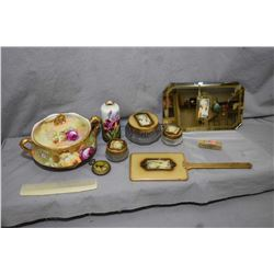 Pictorial dresser set, hand painted Limoges lidded double handled dish with artist signature and an