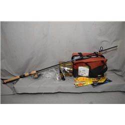 Selection of brand new fishing gear including St. Croix fishing rod, a Flueger reel and bag of assor