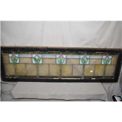 """Antique framed leaded glass panel with tulips, overall dimensions 15"""" X 52"""""""
