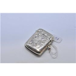 Small antique sterling silver engraved match safe marked Birmingham 1904-1905
