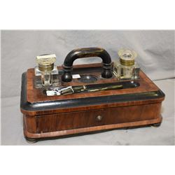 Antique portable desk top organizer with double glass inkwells, letter drawer and a vintage fountain