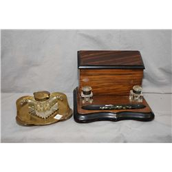 Antique rosewood desk organizer with double inkwells and stationary box, a vintage fountain pen and