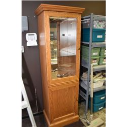Contemporary oak and glass display cabinet