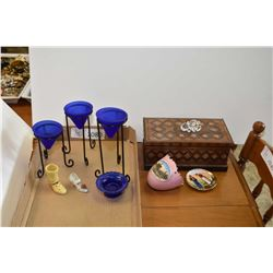 T/L jewellery box, candle holders, cabinet pieces