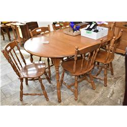 Maple dining table with 2 leaves, 6 chairs