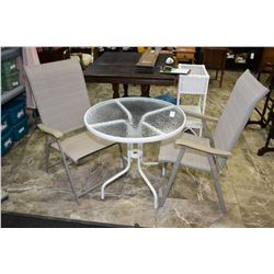 Small metal and glass patio table + 2 folding lawn chairs