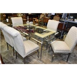 Semi contemporary quality metal and glass dining table with six upholstered dining chairs