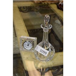 Waterford crystal vanity clock and an Atlantis decanter with stopper