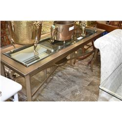 Modern sofa table with glass insert top