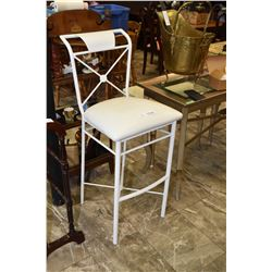 Metal bar stool with back and upholstered seat