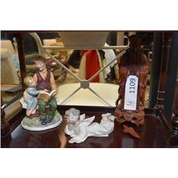 Three figures including wooden Asian, Italian man & child and Lladro cherub