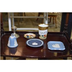 Three pieces of Wedgwood, sterling candlestick and a hand painted gilded cup