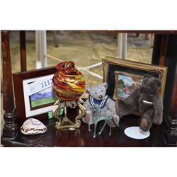 Selection of collectible including Cash's silk, two Teddy bears, small watercolour etc.
