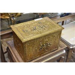 Brass bass relief figural coal/kindling box