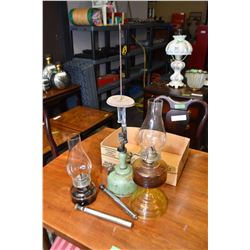 Two pressed glass oil lamps + one lantern