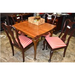 English mahogany draw leaf dining table + 4 chairs