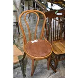 Vintage bentwood side chair with pressed leather seat