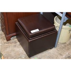 Ottoman with flip over top converts to tray + interior storage