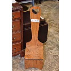 Handled oak kitchen stool