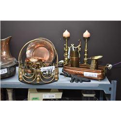 Shelf lot of brass and copper including bowls, candlesticks, pots etc.