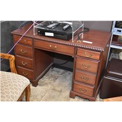 Small double pedestal mahogany desk, note coming apart on right side