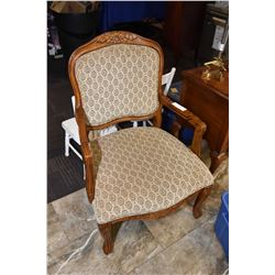 Two as new antique style open arm parlour chairs with upholstered seat and back