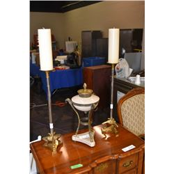 Pair of Nouveau style tall candle holders and a brass and alabaster garniture