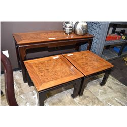 Three piece matching Oriental style sofa table and two end tables with burl walnut tops