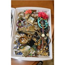 Tray lot of costume jewellery and watches
