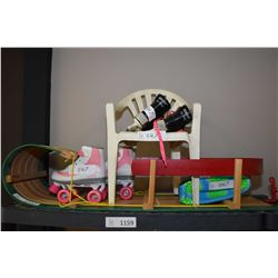 Child's items including snow sleigh, roller skates size 2 and a pair of ice skates, chair etc.