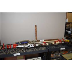 Selection of clamps including pistol grip etc. pls circular saw guide, carpenter's level etc.