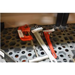 """Large pipe cutter and 14"""" & 18"""" pipe wrenches"""