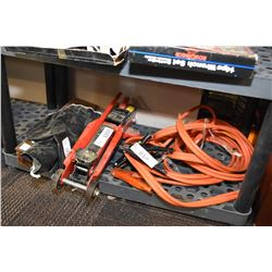 """Booster cables, 4000lb floor jack, 12"""" drive Imperial socket set & Imperial combination wrenches"""
