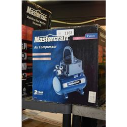 New in box Mastercraft, 2 gallon electric air compressor with accessories
