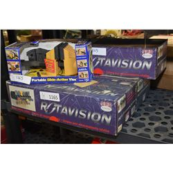 Three new in box Rotavision rotary storage systems & a new in box Record Quick Vice III