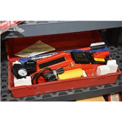 Appears unused Canadian Tire emergency road kit including hydraulic jack, cigarette lighter powered