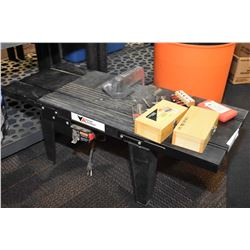 Table top router table, selection of rotor bits, MasterCraft maximum combination fixed base and plun