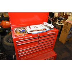 Sears/Craftsman top tool box and contents incl. rulers, measuring tapes, compass, files, socket sets