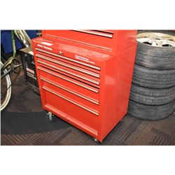 Sears/Craftsman bottom rolling cabinet containing small squares, chisels, rivet gun, tap & die set,