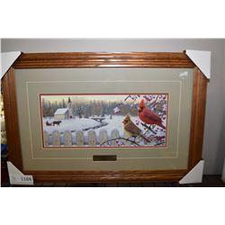 """Oak framed print """"White Crimson Morning"""""""
