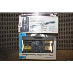 New in box Skil cordless power wrench kits 3/8th and a Mastercraft 47 pieces accessory kit including