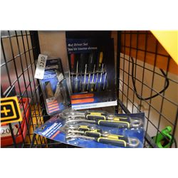 Three new in box Mastercraft tool sets including nut driver, folding utility knife and five piece ad