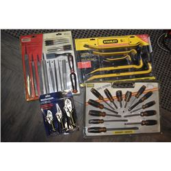 4 new in package tool sets including 3 piece Mastercraft locking pliers, 5 pc. Stanley pry bar set,