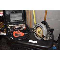 "Black & Decker circular saw and a Black & Decker ""mouse"" power sander"