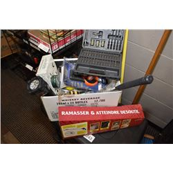 Selection of tools including flashlight, hammer, screwdriver bits, wrenches etc.