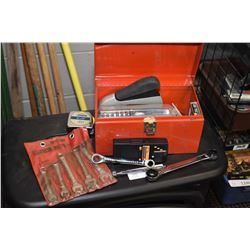 Small portable tool box with a selection of pliers, wrenches, staple gun, screwdriver bits etc.
