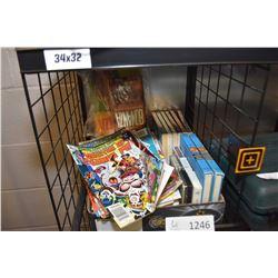 Selection of vintage comics, Hardy Boys books etc.